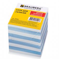 Блок для записей BRAUBERG непроклеенный, 9*9*9, голубой+белый, 124443