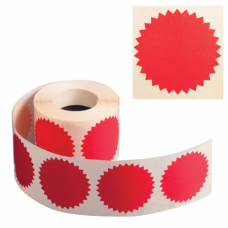 Наклейки для опечатывания любых документов, в т.ч. нотариальных (конгривки), 500 штук, 52 мм, красные