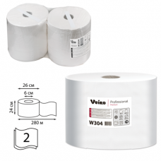 Бумага протирочная VEIRO (P1/P2), КОМПЛЕКТ 2шт, Premium, 800л в рулоне, 24х35 см, 2-сл., W304