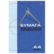 Бумага масштабно-координатная HATBER, А4, 210*295мм, голубая, на скобе, 16л., 16Бм4_02284 (N002704)