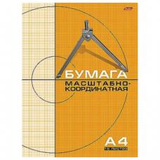 Бумага масштабно-координатная HATBER, А4, 210*295мм, оранжев., на скобе 16л., 16Бм4_03411 (N016589)