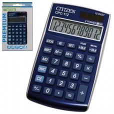 Калькулятор CITIZEN карманный CPC-112BLWB, 12 разрядов, двойное питание, 120х72мм, СИНИЙ