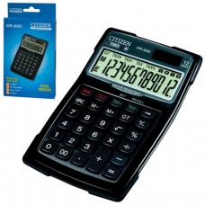 Калькулятор CITIZEN водопыленепроницаемый WR-3000, 12 разрядов, двойное питание, 152x106мм