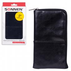Сумочка для телефона SONNEN на молнии, кожзам, 135x70x10мм, универс., черная, 261965