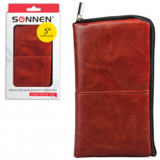Сумочка для телефона SONNEN на молнии, кожзам, 135x70x10мм, универс., коричневая, 261966