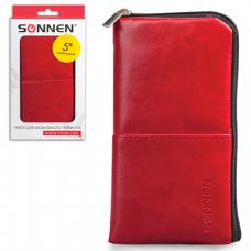 Сумочка для телефона SONNEN на молнии, кожзам, 135x70x10мм, универс., красная, 261967
