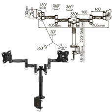 Кронштейн для 2 мониторов настольный KROMAX OFFICE-3, VESA 75/100, 10