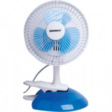 Вентилятор настольный SONNEN TF-15W-15, d=15 см, 15Вт, клипса+ подставка, белый/синий, 451037
