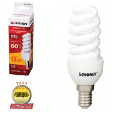 Лампа люминесц. энергосбер. SONNEN Т2, 11 (60) Вт, цоколь E14, 12000ч, тепл. свет, ПРЕМИУМ, 451051