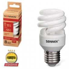 Лампа люминесц. энергосбер. SONNEN Т2, 11 (55) Вт, цоколь E27, 8000ч, тепл. свет, эконом, 451069