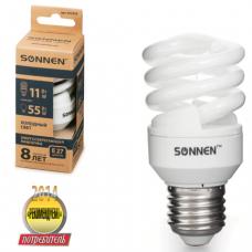 Лампа люминесц. энергосбер. SONNEN Т2, 11 (55) Вт, цоколь E27, 8000ч, хол. свет, эконом, 451070