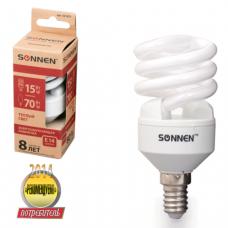 Лампа люминесц. энергосбер. SONNEN Т2, 15 (70) Вт, цоколь E14, 8000ч, тепл. свет, эконом, 451071