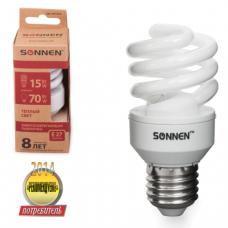 Лампа люминесц. энергосбер. SONNEN Т2, 15 (70) Вт, цоколь E27, 8000ч, тепл. свет, эконом, 451073
