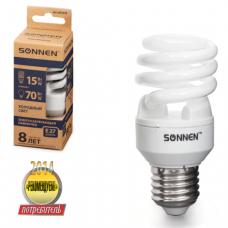 Лампа люминесц. энергосбер. SONNEN Т2, 15 (70) Вт, цоколь E27, 8000ч, хол. свет, эконом, 451074