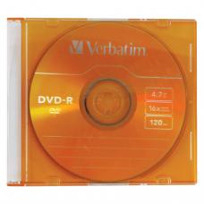 Диск DVD-R (минус)  VERBATIM 4,7Gb 16x Colour Slim Case 43557 (ш/к-5570)