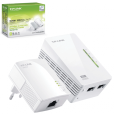Адаптер-PowerLine TP-LINK TL-WPA2220KIT, 1WAN, 10/100Мбит/с, 802.11n, 300Мбит/с, по сети 200Мбит/с, 2шт