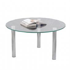 Стол журнальный, стекло/металл Кристалл - ОМ, (ш800*г800*в417мм), 1101, хром