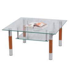 Стол журнальный, стекло/дерево/металл Кристалл - ПК (П), (ш1000*г600*в417мм), 1116, хром/вишня