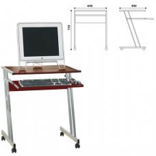 Стол компьютерный на металлокаркасе (ш640*г400*в734), ЛДСП, цвет орех, Д-249