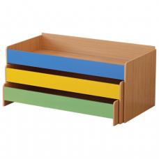 Кровать детская трехъярусная (ш1480*г652*в720мм), ЛДСП, бук бавария/цветная, настил фанера, ш/к 21284