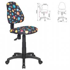 Кресло детское KD-4/PLANETY без подлокотников, черное с рисунком