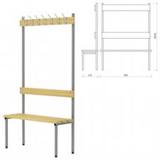 Вешалка со скамьей (в1818*ш980*г370мм), 7 крючков, металл серый / дерево, П-091Д/1, ш/к 61224