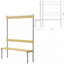 Вешалка со скамьей (в1818*ш1480*г370мм), 11 крючков, металл серый / дерево, П-091Д/1,5, ш/к 61231