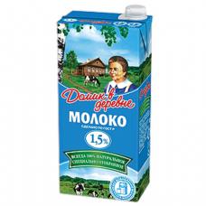 Молоко ДОМИК В ДЕРЕВНЕ жирность 1,5%, картонная упаковка, 950 г, 04575
