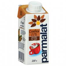 Сливки PARMALAT (Пармалат), жирность 11%, картонная упаковка, 200 мл, ш/к 00351